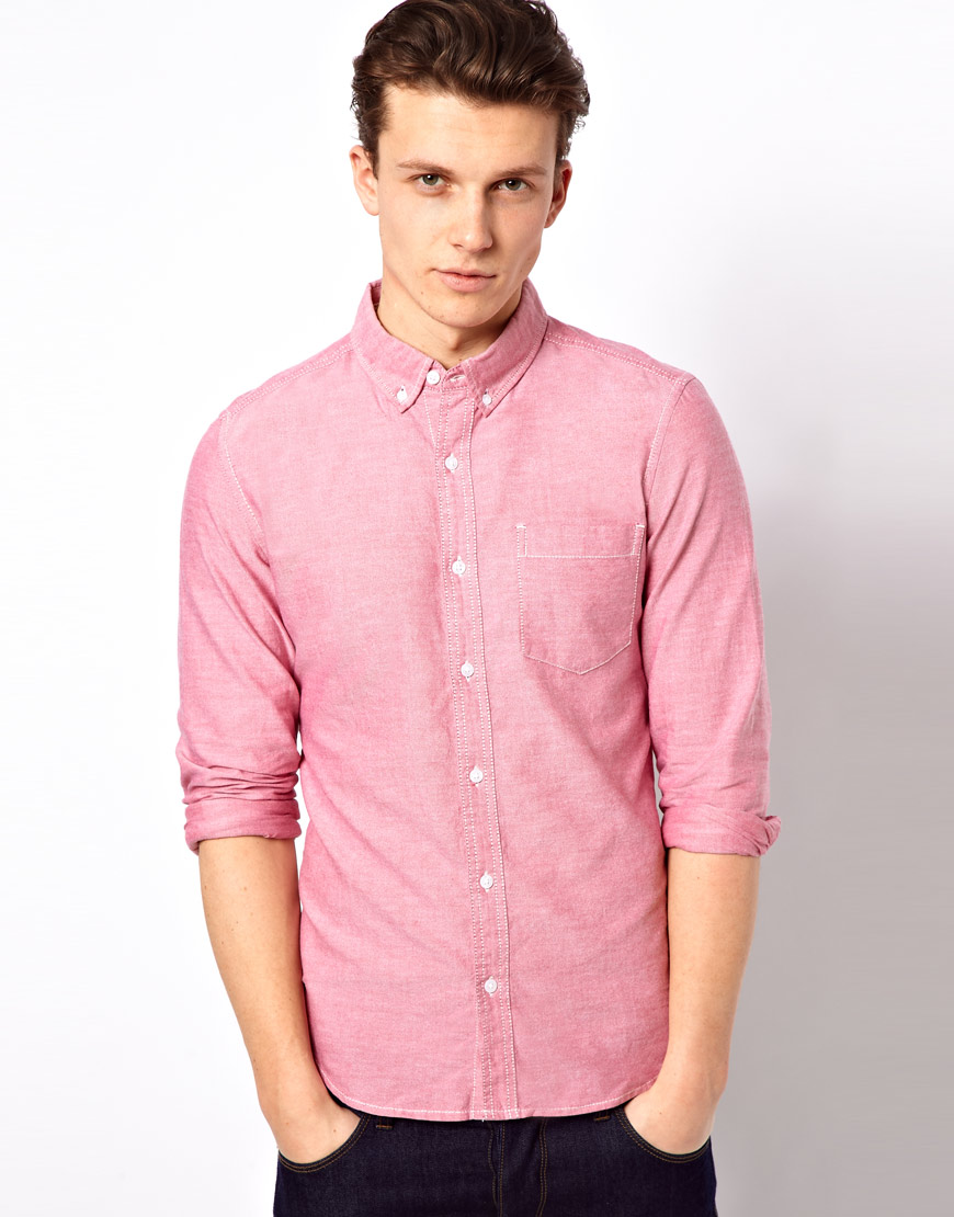 34c6cb348ae Lyst - Esprit Oxford Shirt with Long Sleeves in Pink for Men