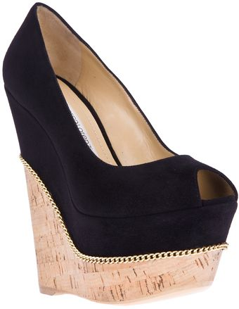Gianmarco Lorenzi Peep Toe Wedge - Lyst