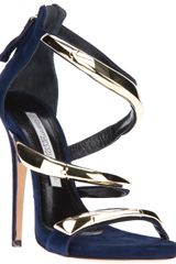 Gianmarco Lorenzi Metallic Strappy Sandals - Lyst