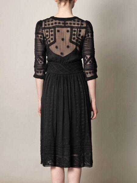 isabel marant ludivine embroidered silk chiffon dress in