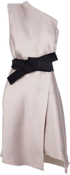 Lanvin One Shoulder Bow Dress - Lyst