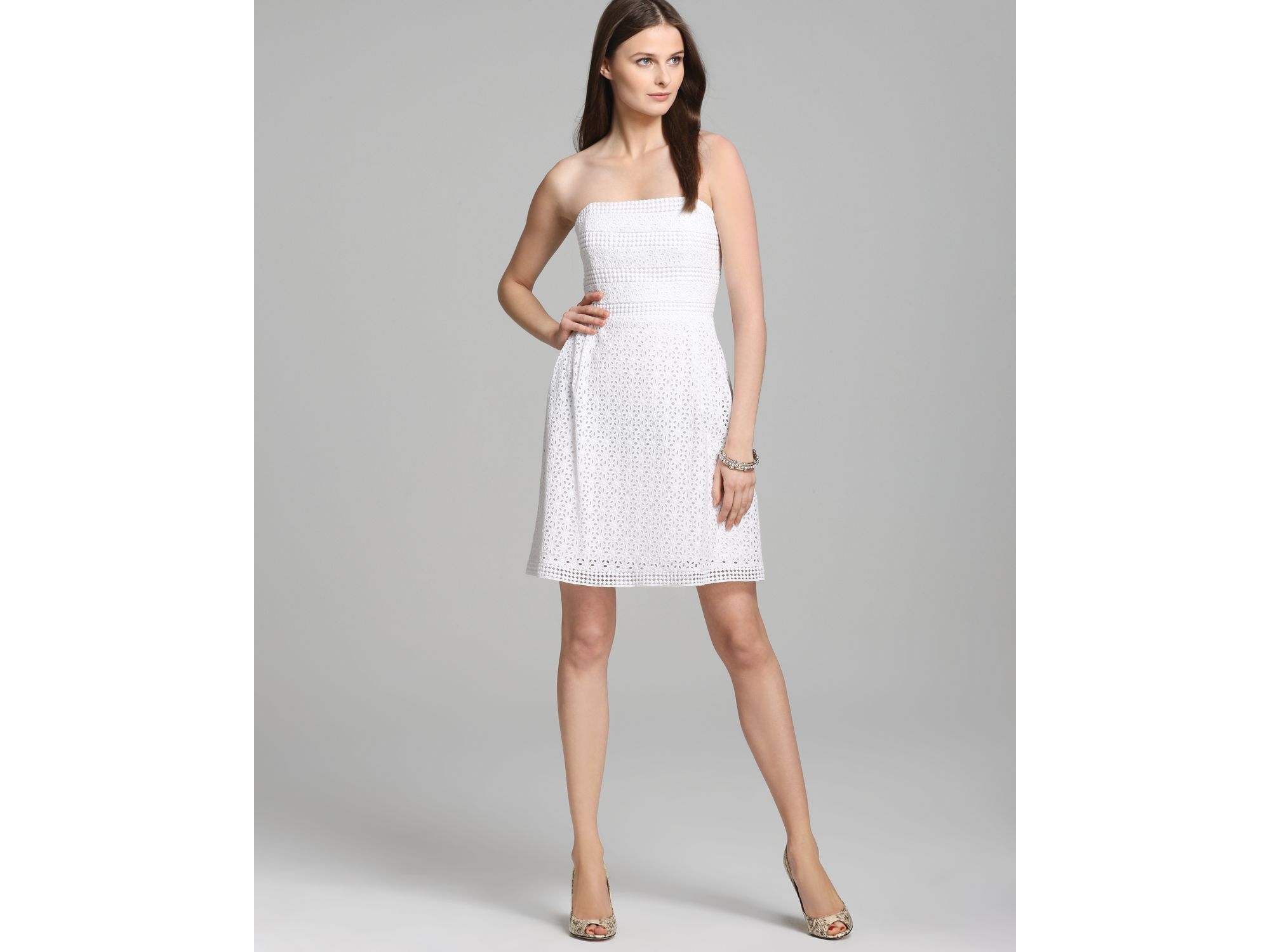 Laundry by shelli segal Strapless Dress Eyelet Fit Flare in White ...