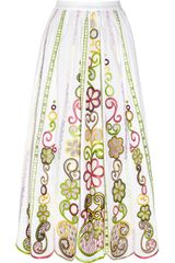 Moschino Cheap & Chic Embroidered Cotton Midi Skirt - Lyst