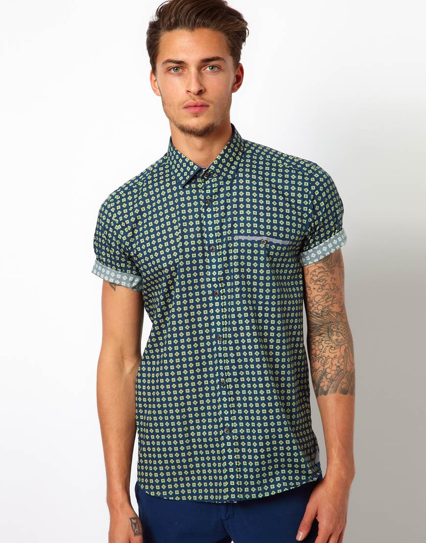 Libertine libertine ted baker printed shirt in green for for Printed shirts for men