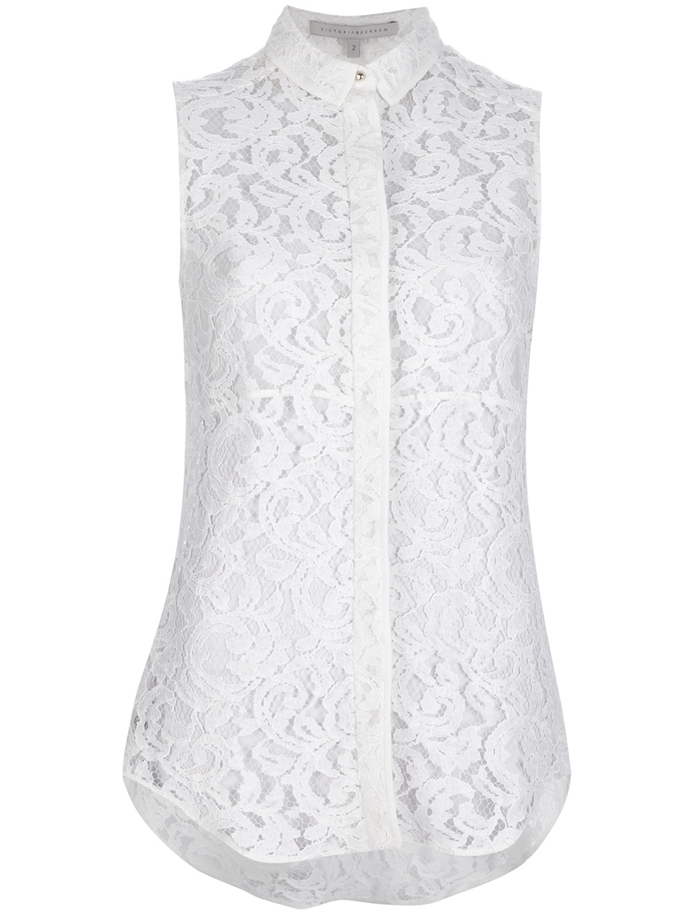 7ad67599525 Victoria Beckham Lace Sleeveless Blouse in White - Lyst