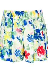 Alice + Olivia Floral Pleated Short - Lyst