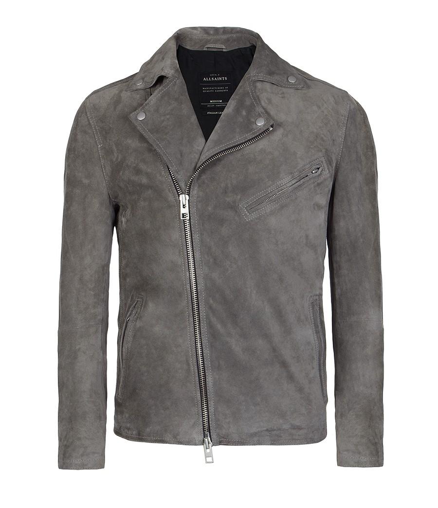 Grey leather motorcycle jacket