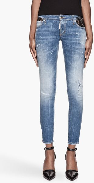 DSquared2 Blue Lacetrimmed and Distressed Precious Jeans - Lyst