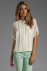 Halston Heritage Short Sleeve Button Front Detail Bubble Hem Top - Lyst