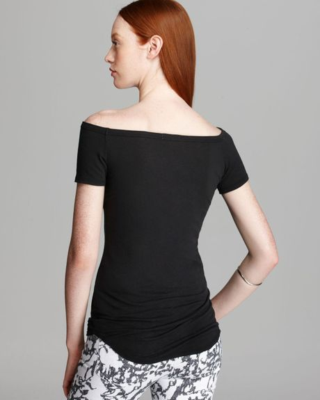 James Perse Top Bare Shoulder in Black