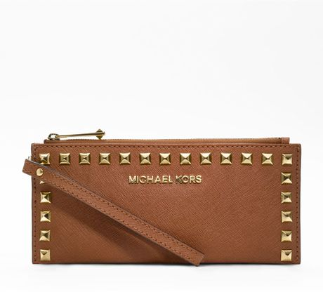 michael kors small selma studtrim saffiano zip clutch in brown lyst. Black Bedroom Furniture Sets. Home Design Ideas