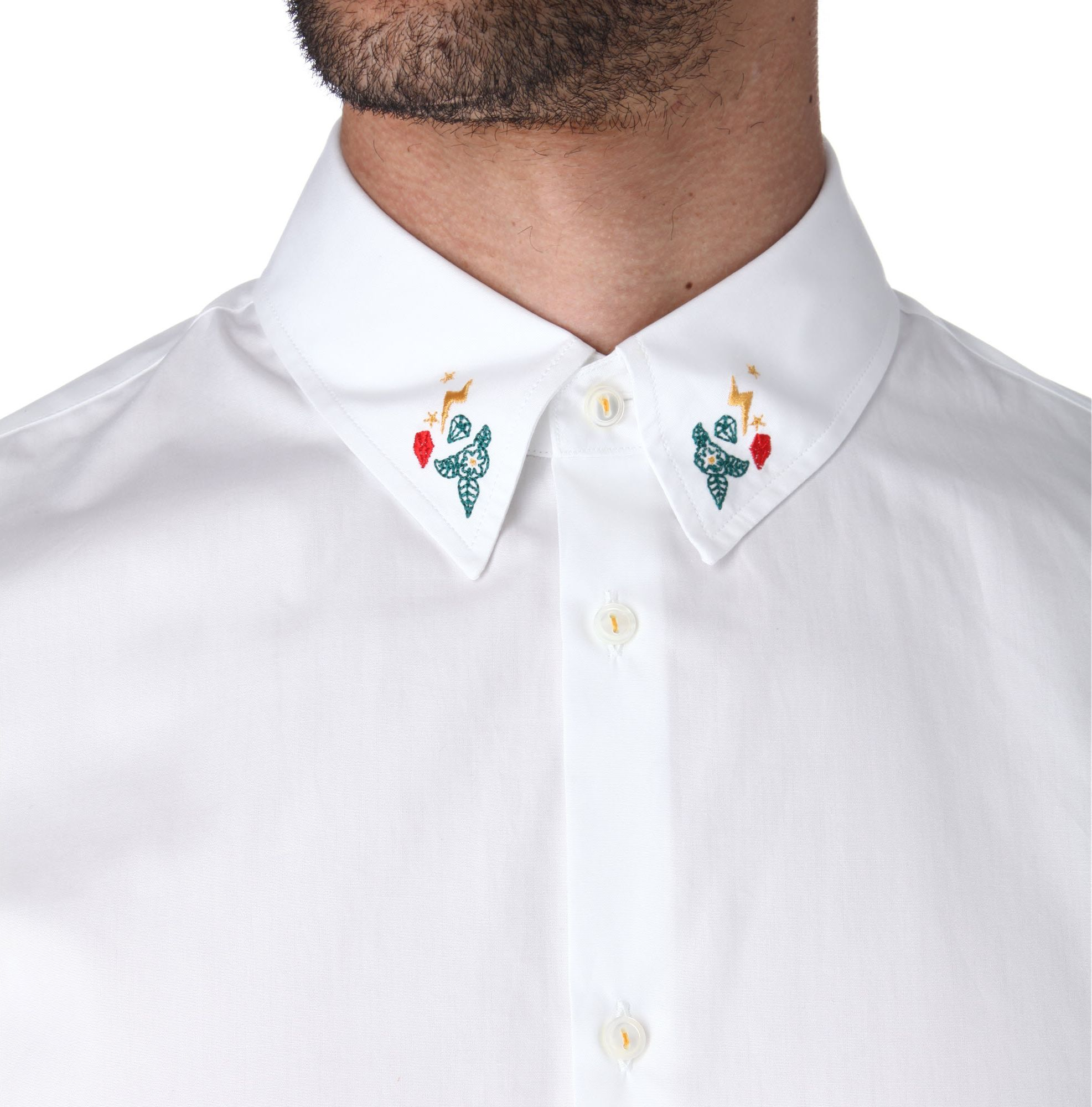 Dsquared Embroidered Collar Shirt In White For Men Lyst