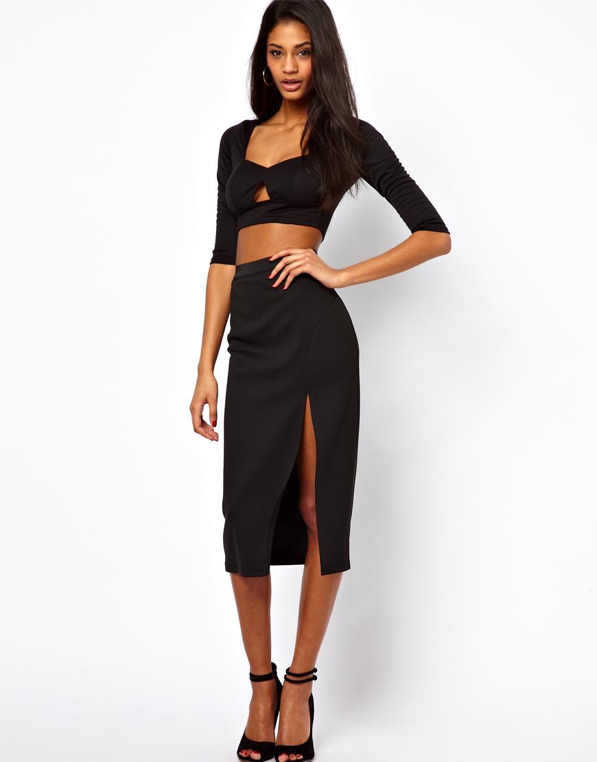 midi skirt with thigh split in black lyst