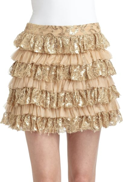 gold lace skirt