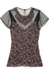 Anna Sui Embroidered Printed Silkchiffon Top - Lyst