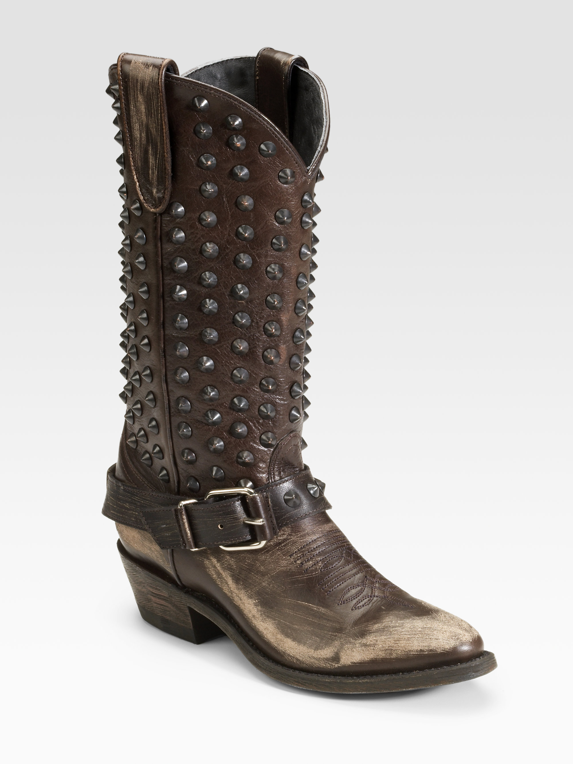 ash studded cowboy boots in brown lyst