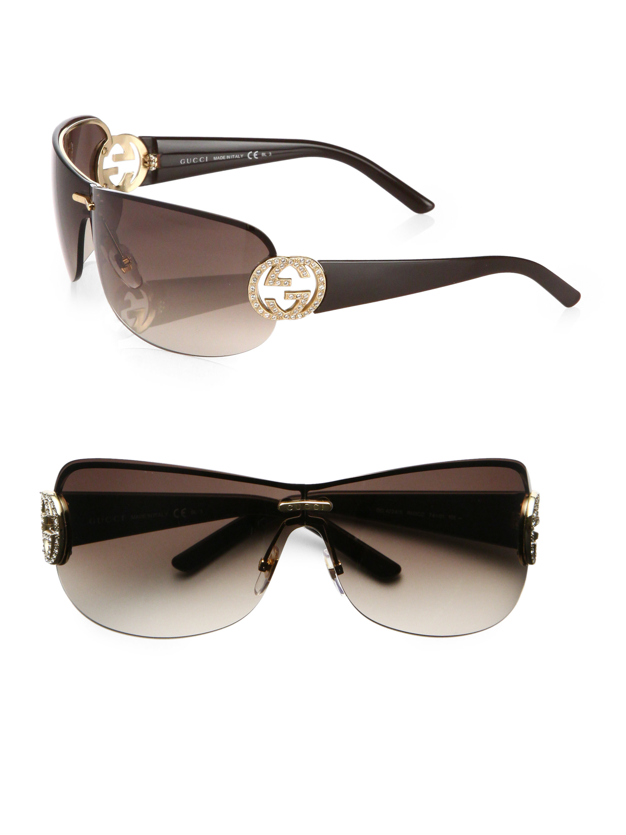 c2651fe0b1 Gucci Oversized Round Crystal Gg Shield Sunglasses in Metallic