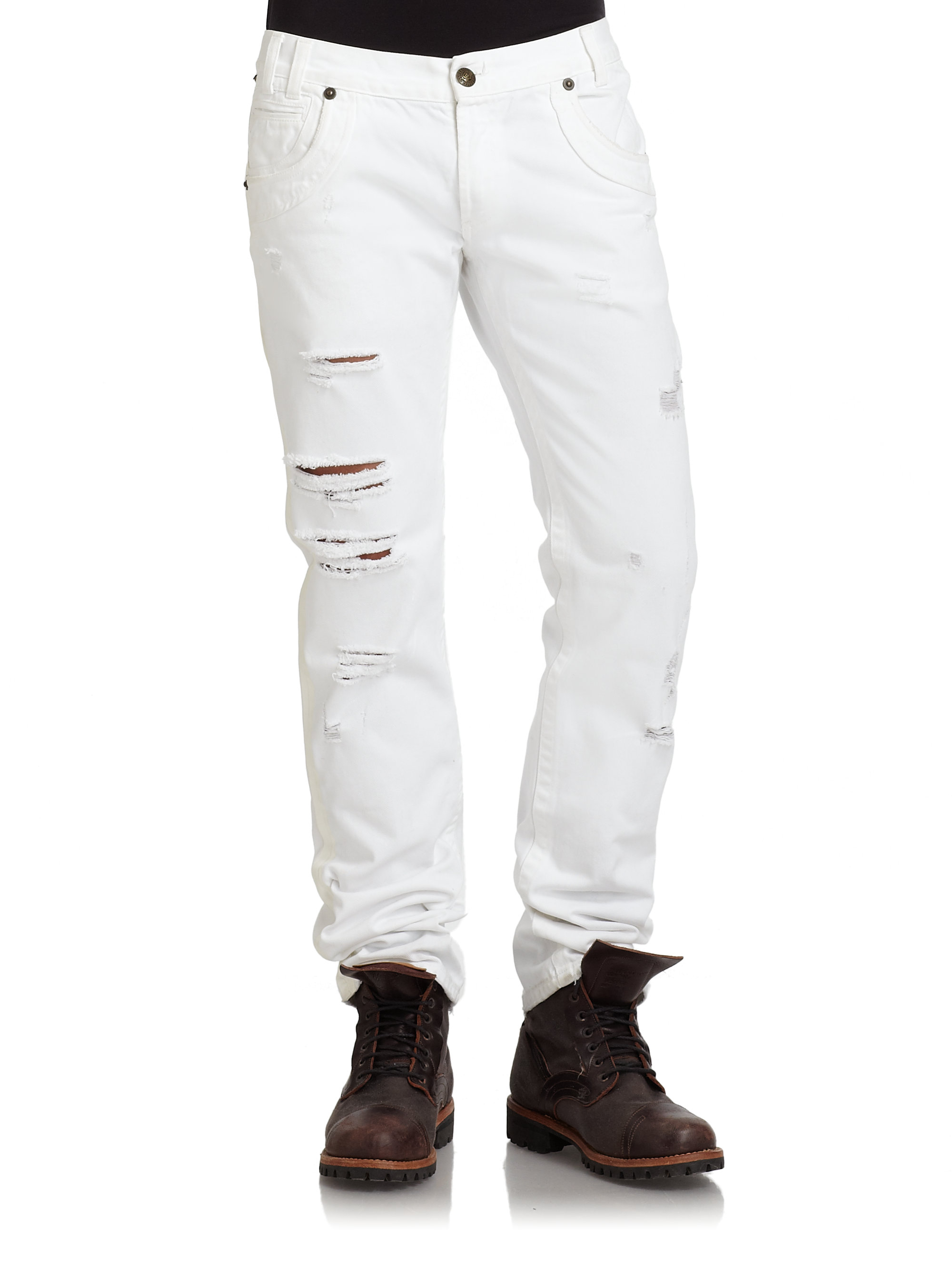 Just cavalli Slim Fit Distressed Jeans in White for Men | Lyst