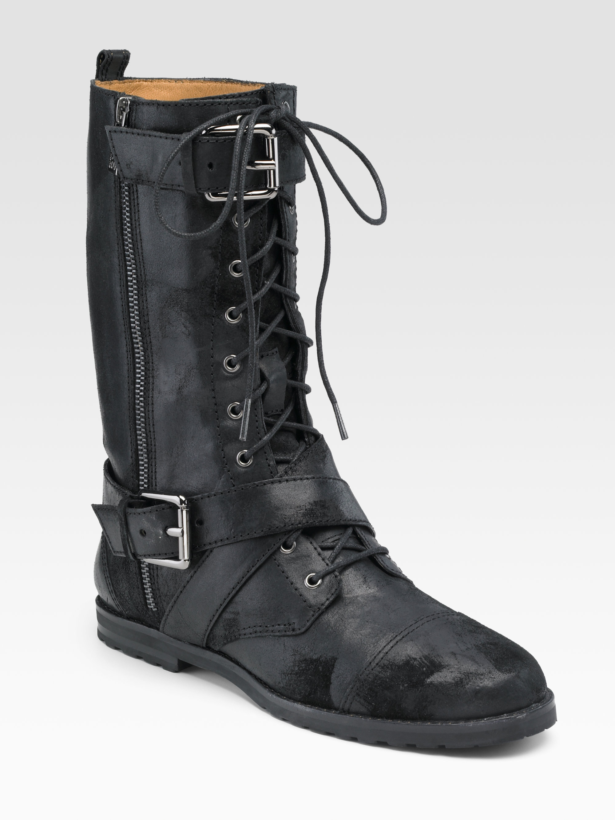 kors by michael kors joplin leather and suede combat boots