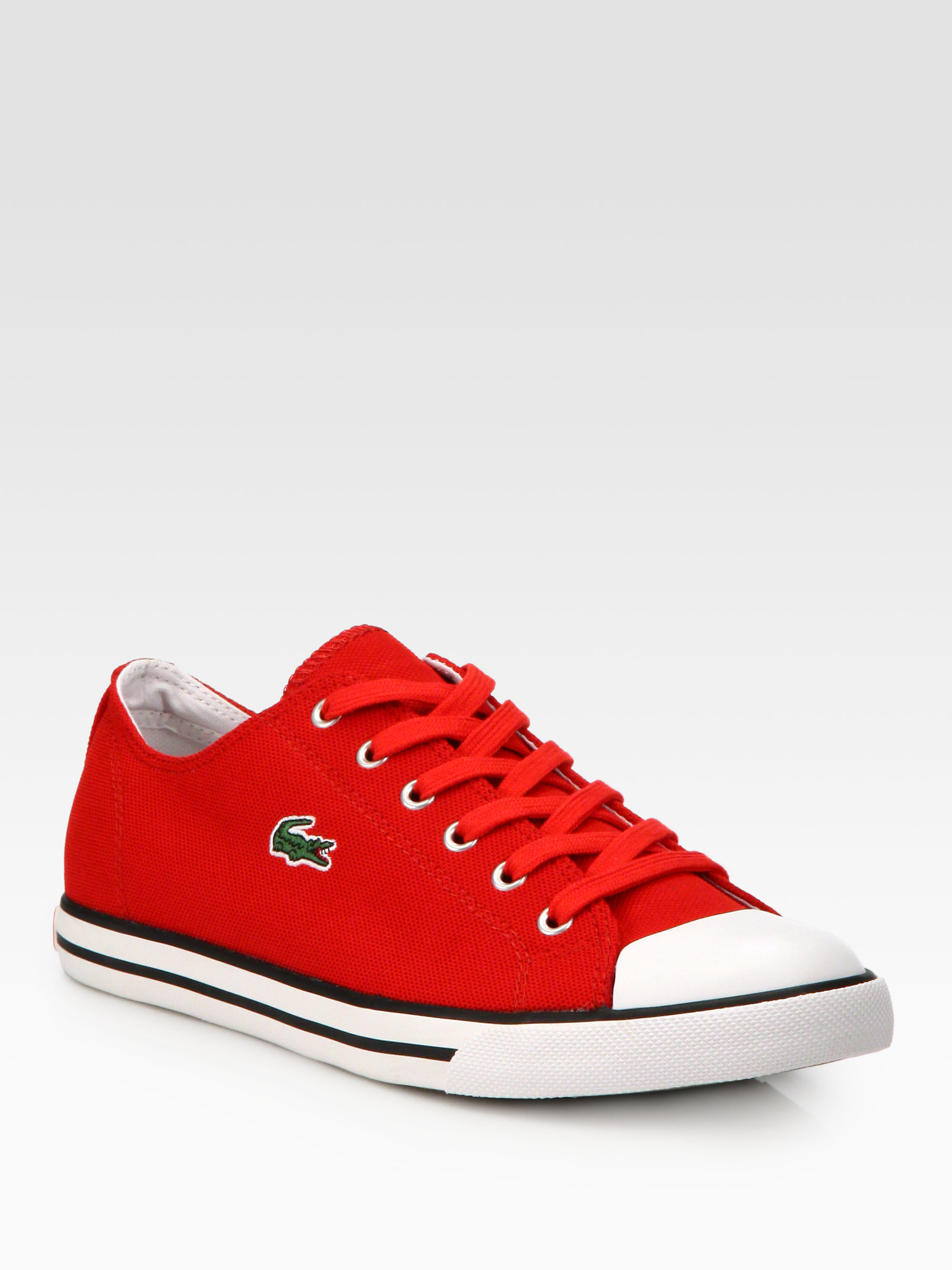 lacoste casual sneakers in red for men lyst