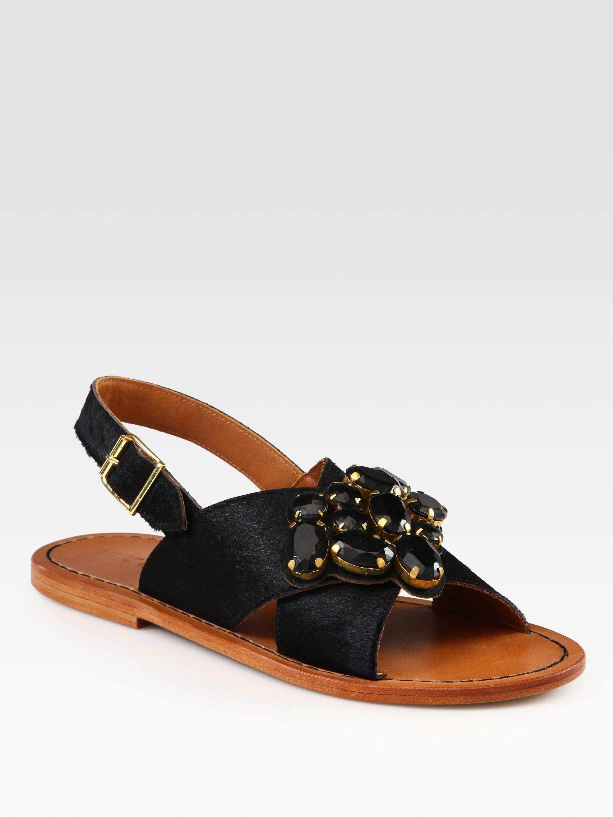 f1ed6cf0e Lyst - Marni Jeweled Calf Hair Crisscross Sandals in Black
