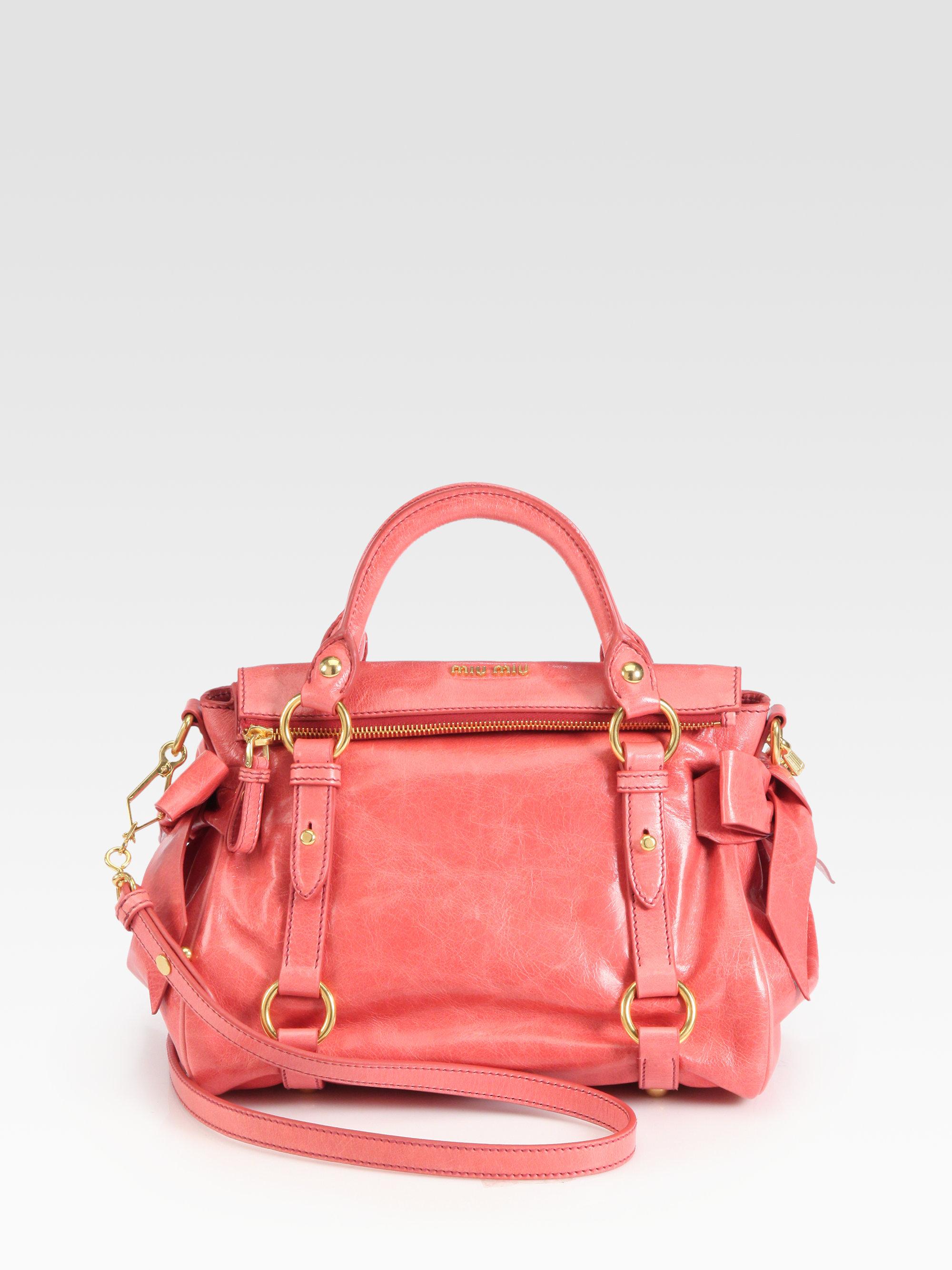 a2064d29a912 Lyst - Miu Miu Vitello Lux Small Bow Satchel in Pink