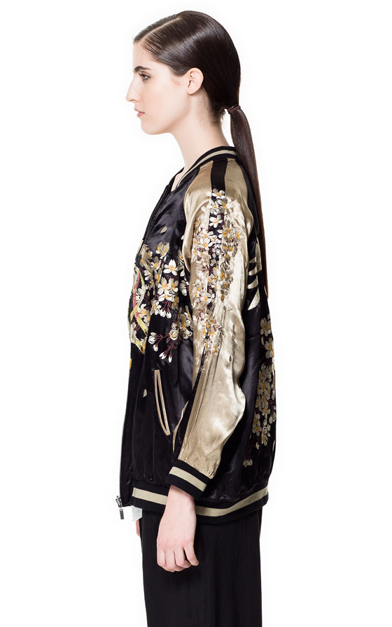 Zara embroidered bomber jacket in black lyst