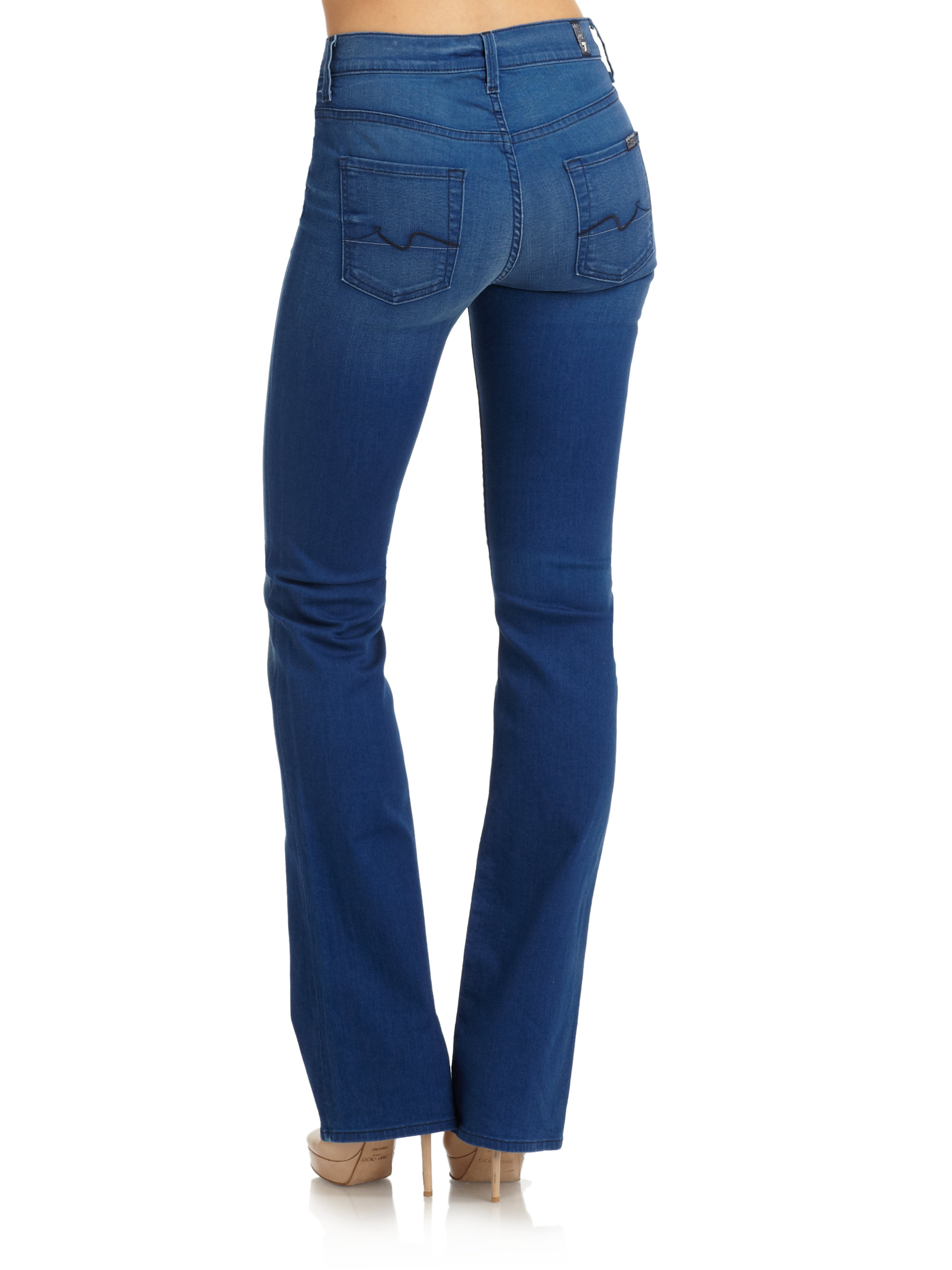 7 for all mankind High Waisted Bootcut Jeans in Blue | Lyst