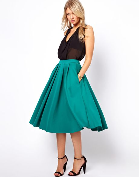 asos collection midi skirt with box pleats in green