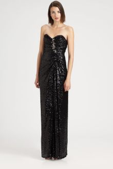 Badgley Mischka Strapless Sequined Gown - Lyst