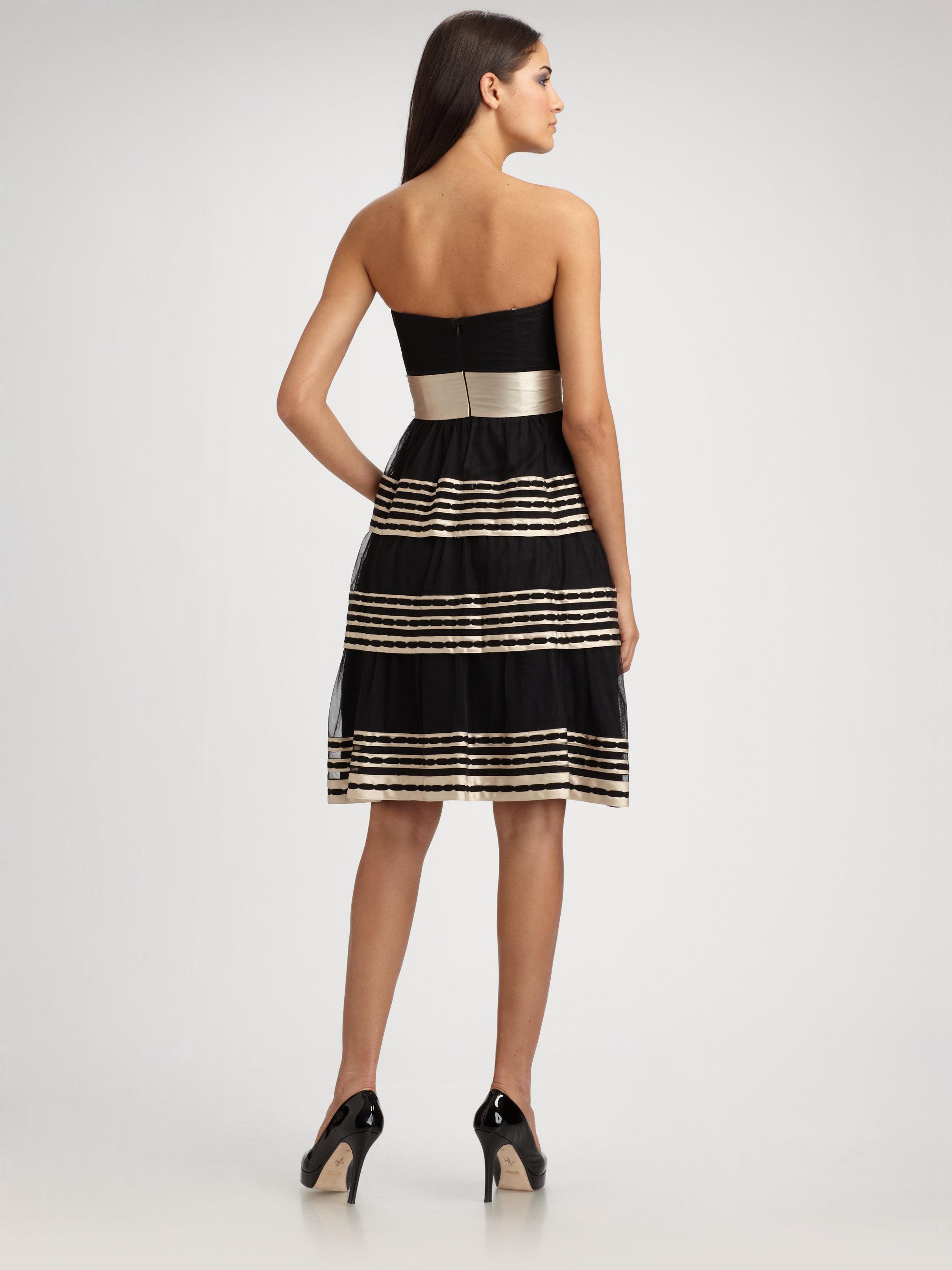 1d7800843 BCBGMAXAZRIA Tiered Tulle Strapless Dress in Black - Lyst