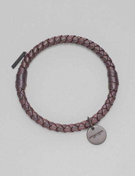 bottega veneta braided leather bracelet in purple green