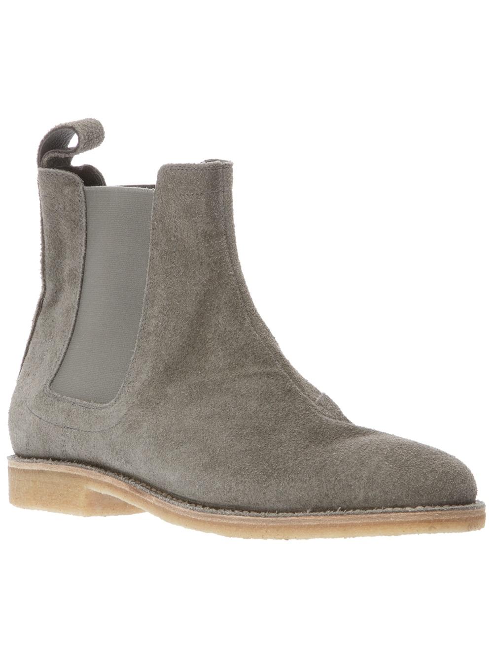 bottega veneta buffalo suede chelsea boots in gray for men lyst. Black Bedroom Furniture Sets. Home Design Ideas