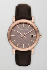 Burberry Sunray Brown Dial Check Watch with Leather Strap - Lyst