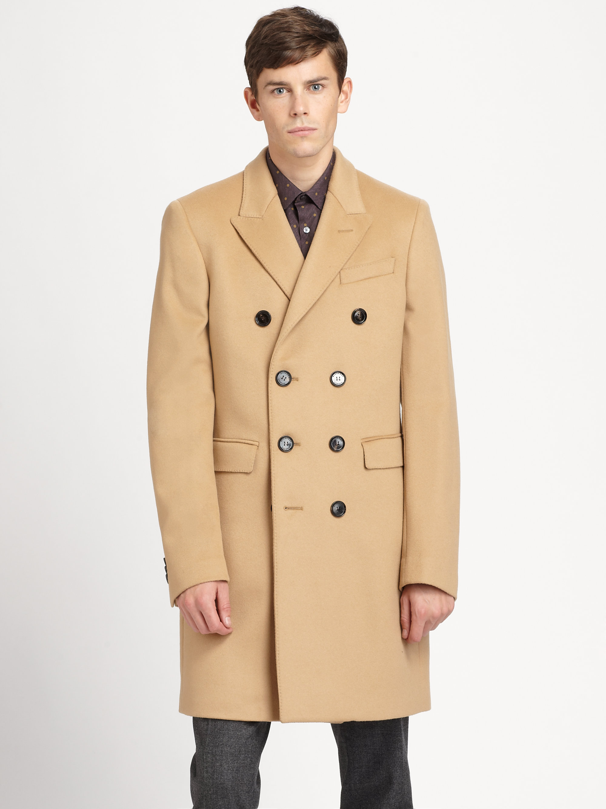 Burberry Grosvenor Double Wool Cashmere Coat in Natural for Men | Lyst