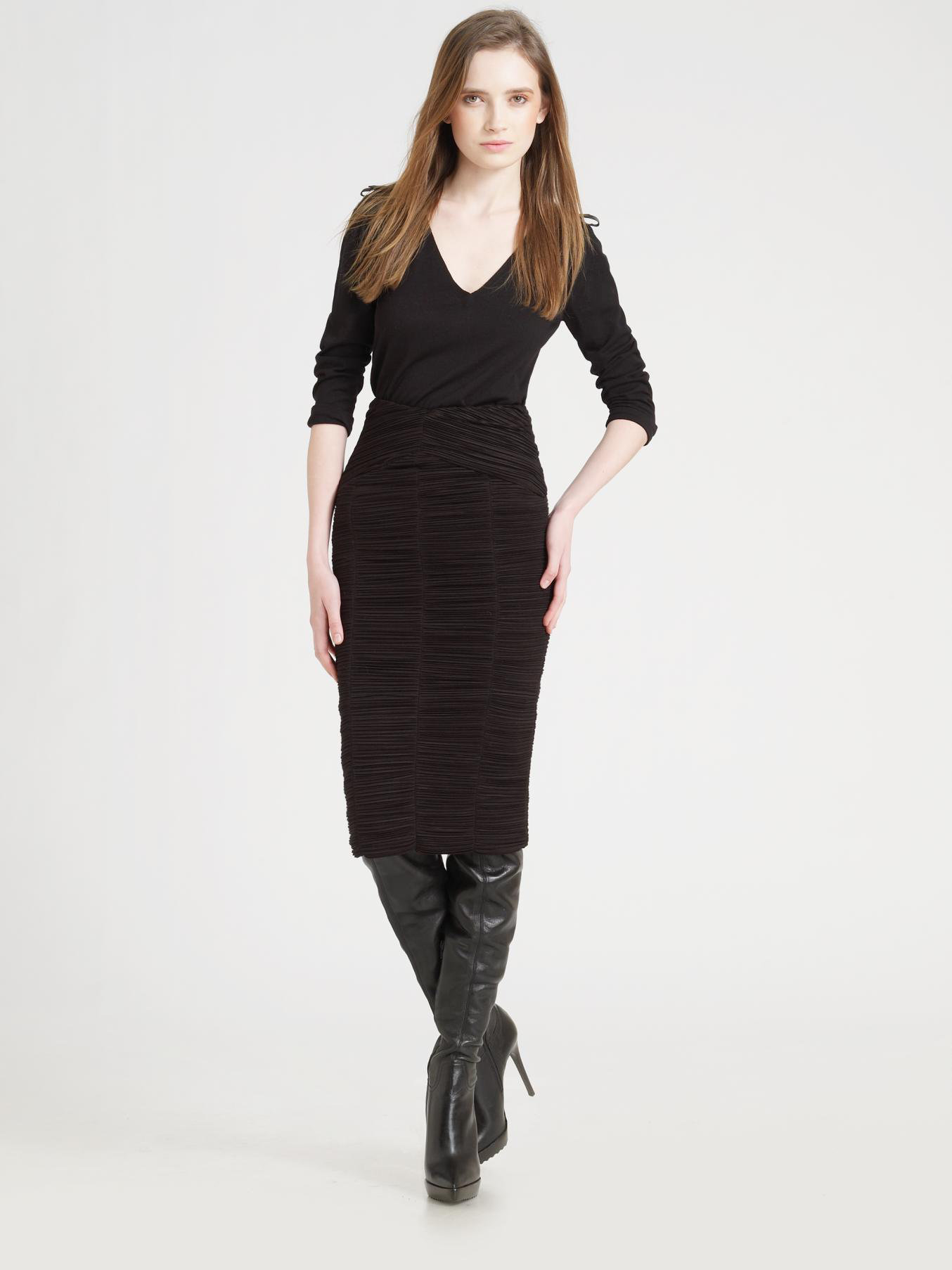 burberry prorsum ruched pencil skirt in black lyst