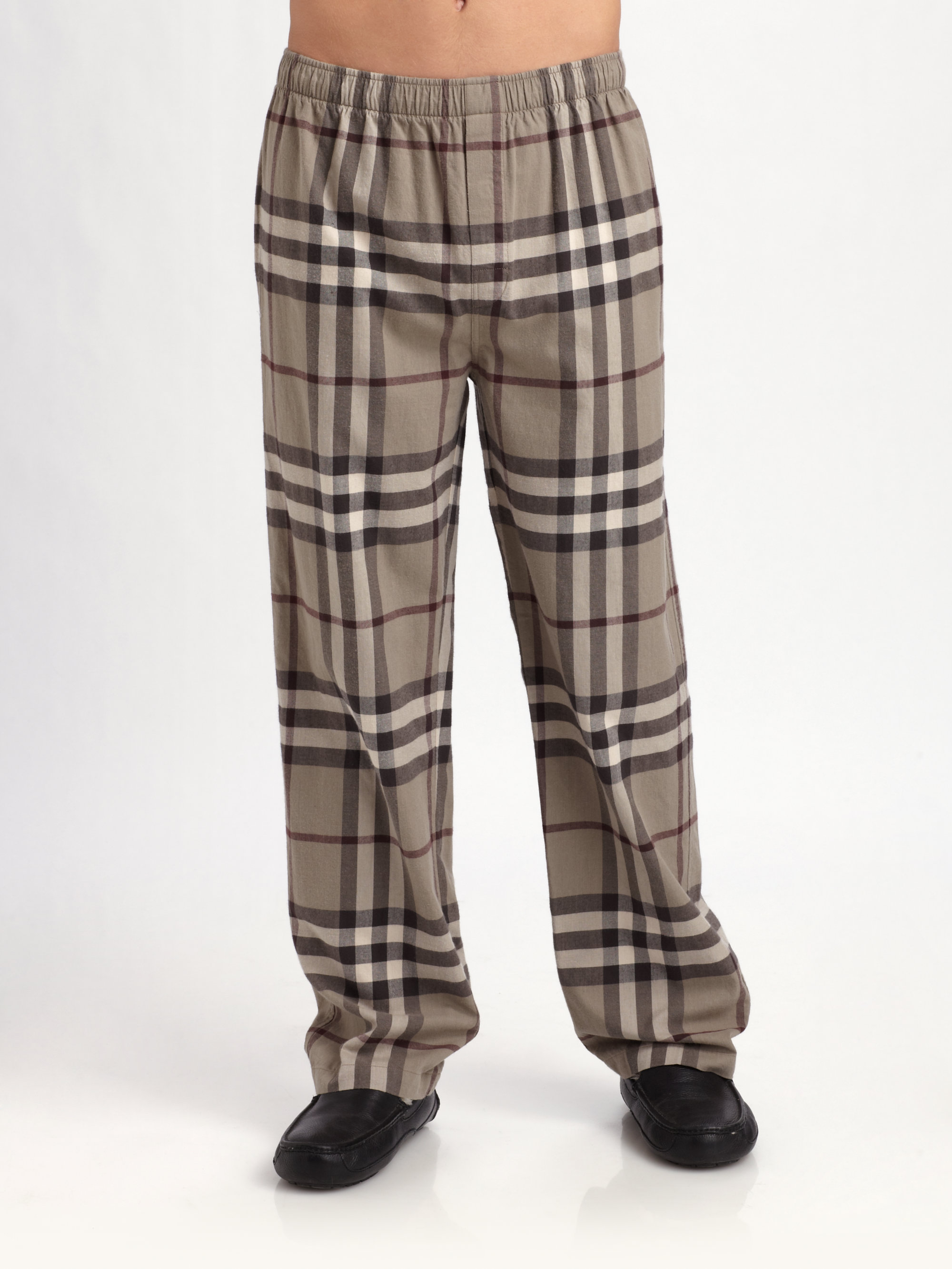 Burberry Flannel Pajamas Pants In Brown For Men Lyst