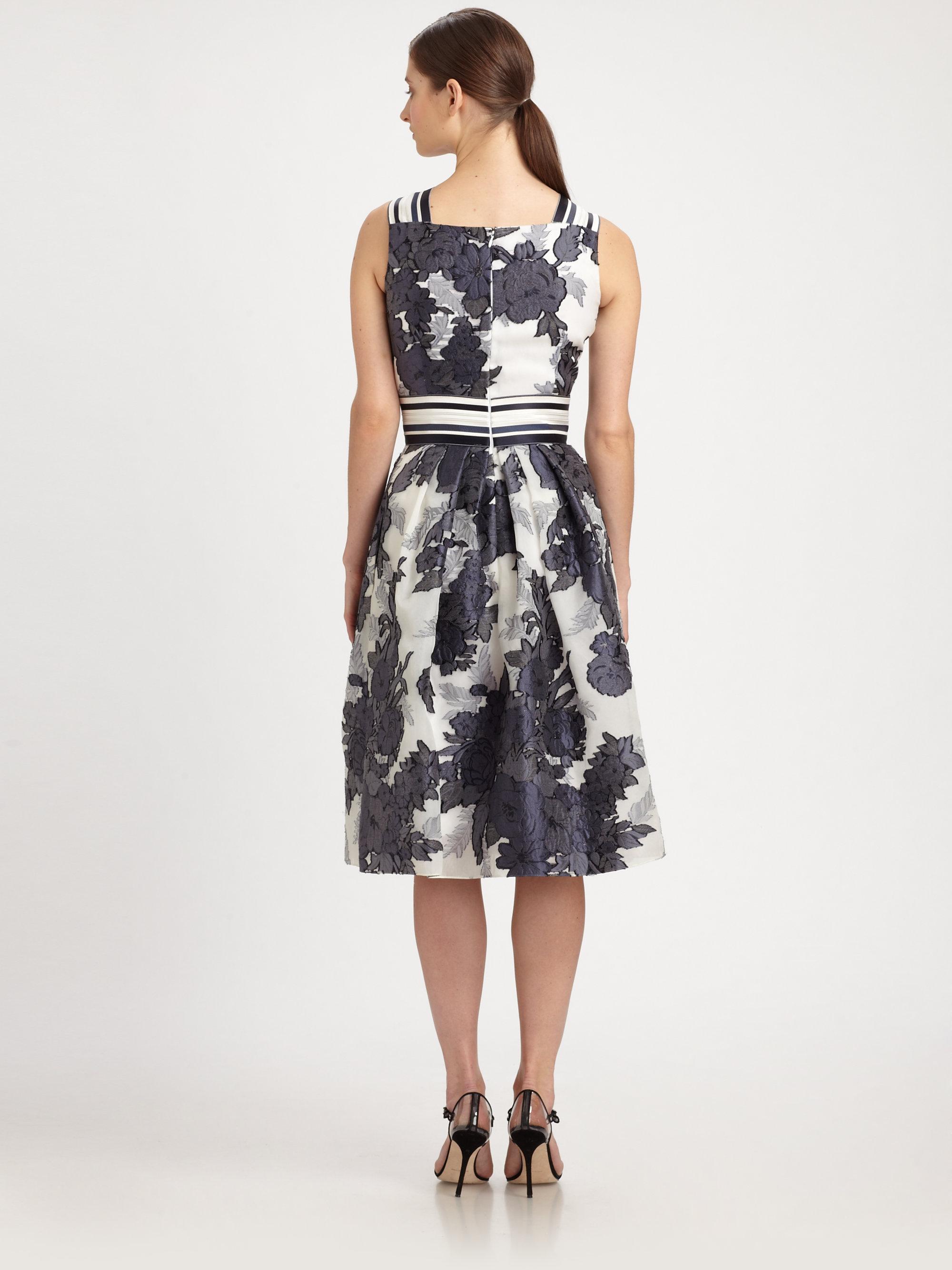 Lyst Carolina Herrera Floral Jacquard Dress In Blue