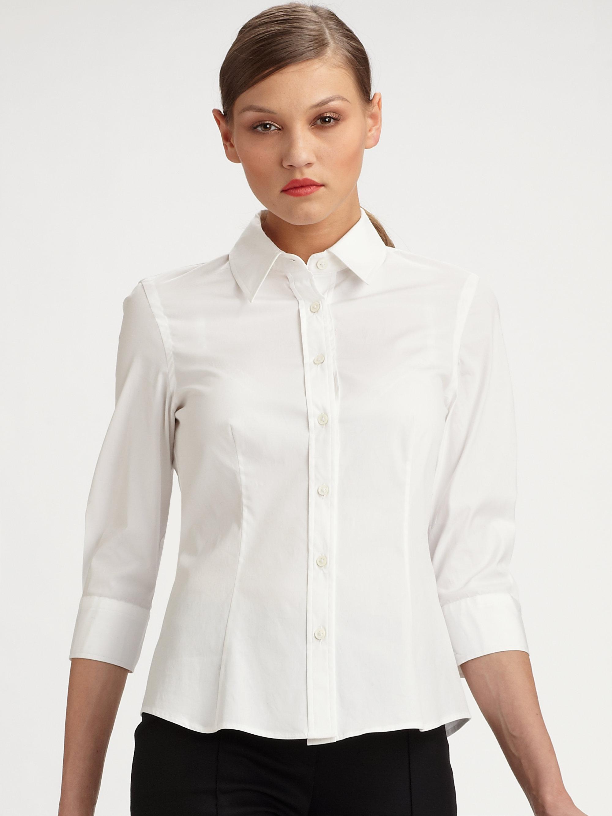 Lyst Carolina Herrera Stretch Cotton Poplin Shirt In White