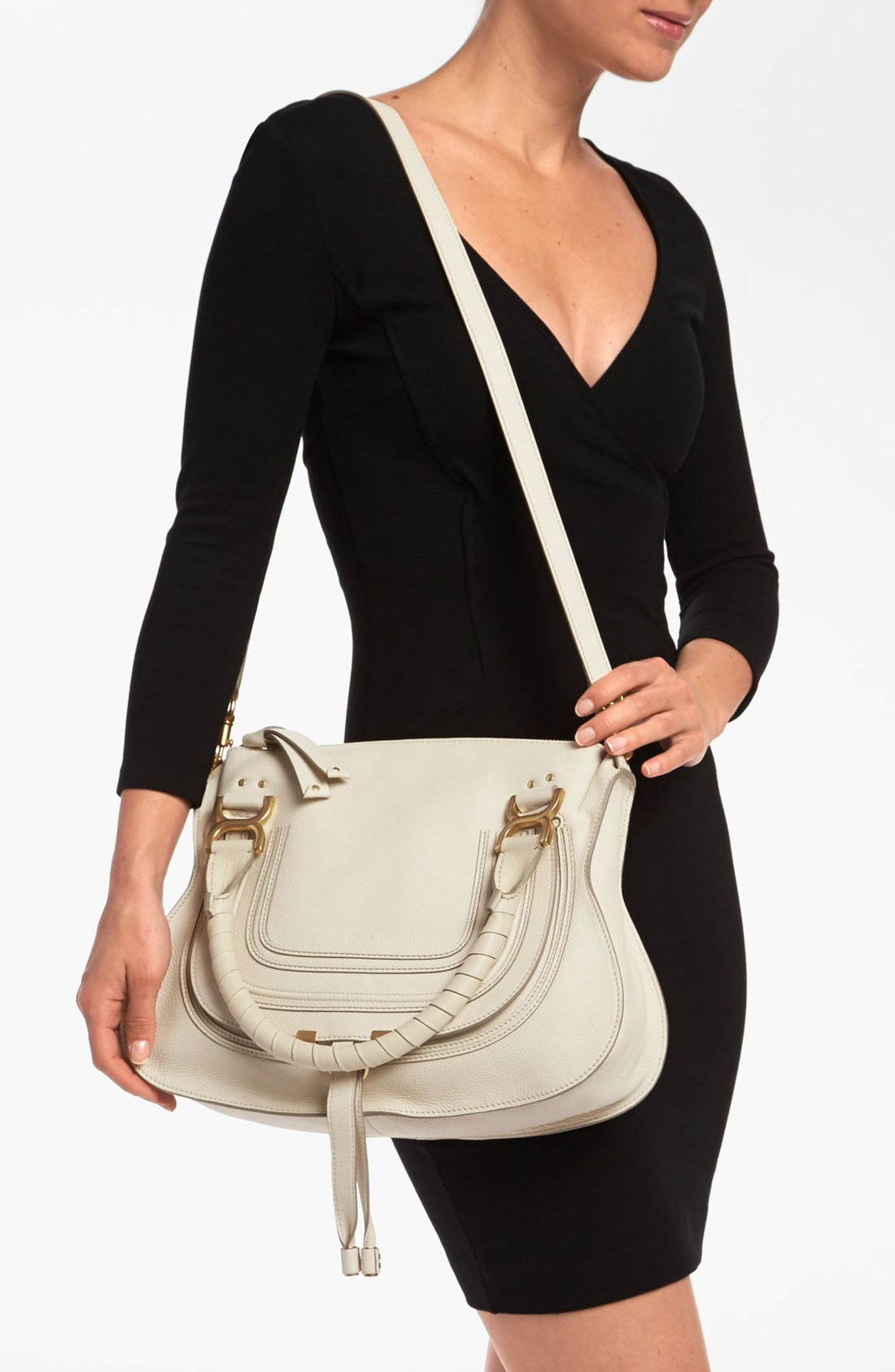 Chlo�� Marcie Small Leather Satchel in Beige (start of color list ...