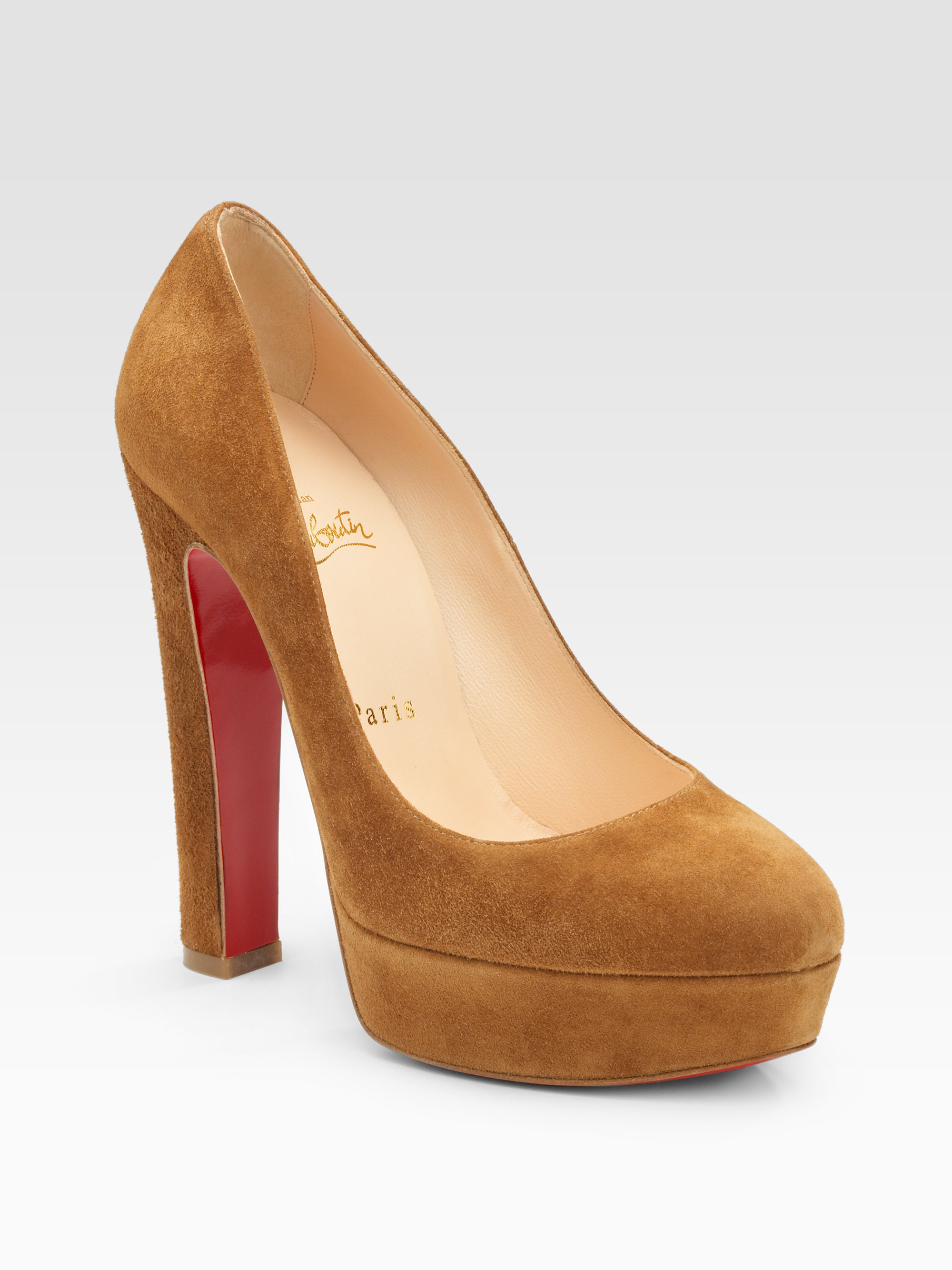 christian louboutin round-toe platform pumps Orange suede ...