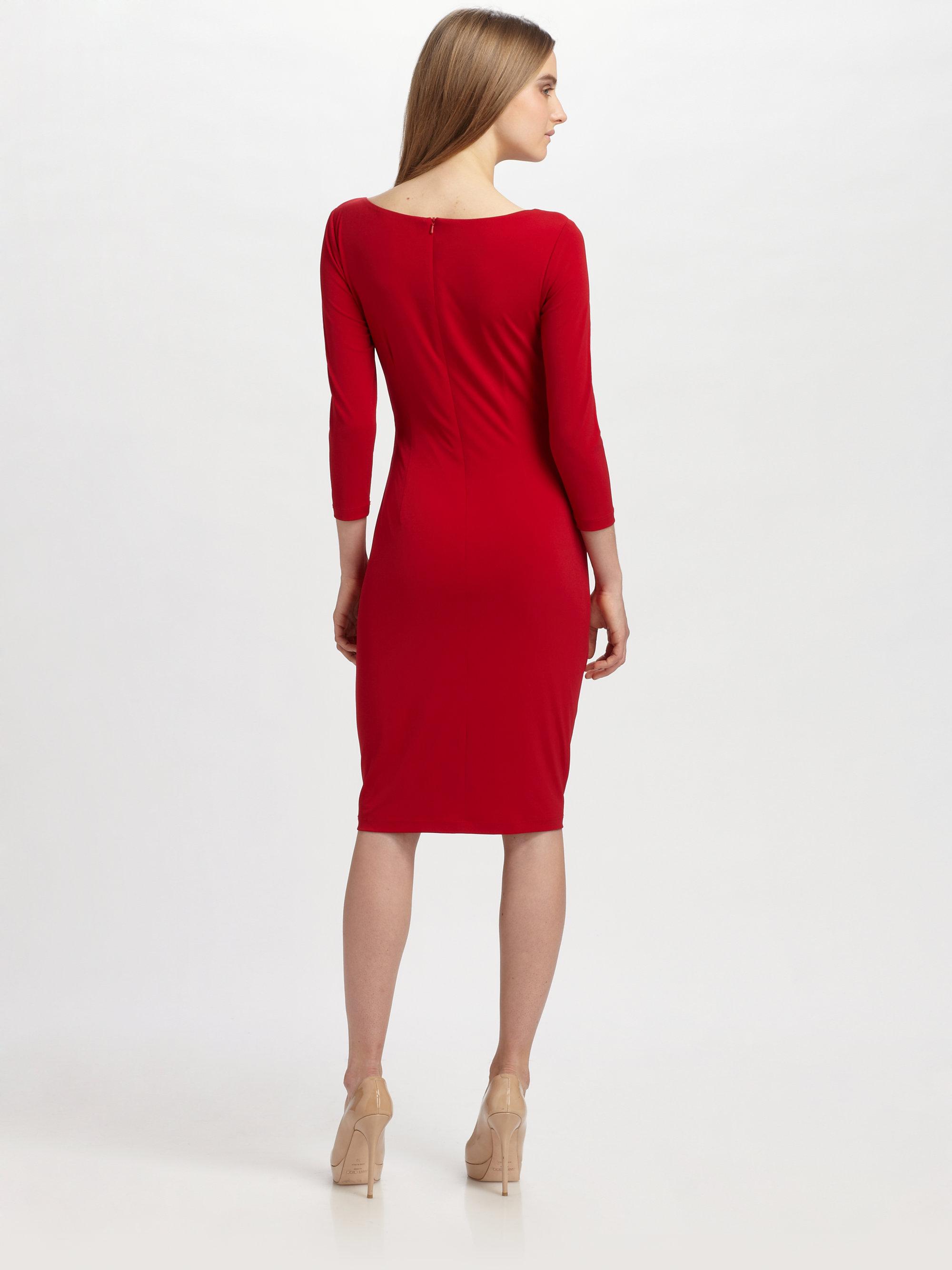 Lyst David Meister Matte Jersey Dress In Red