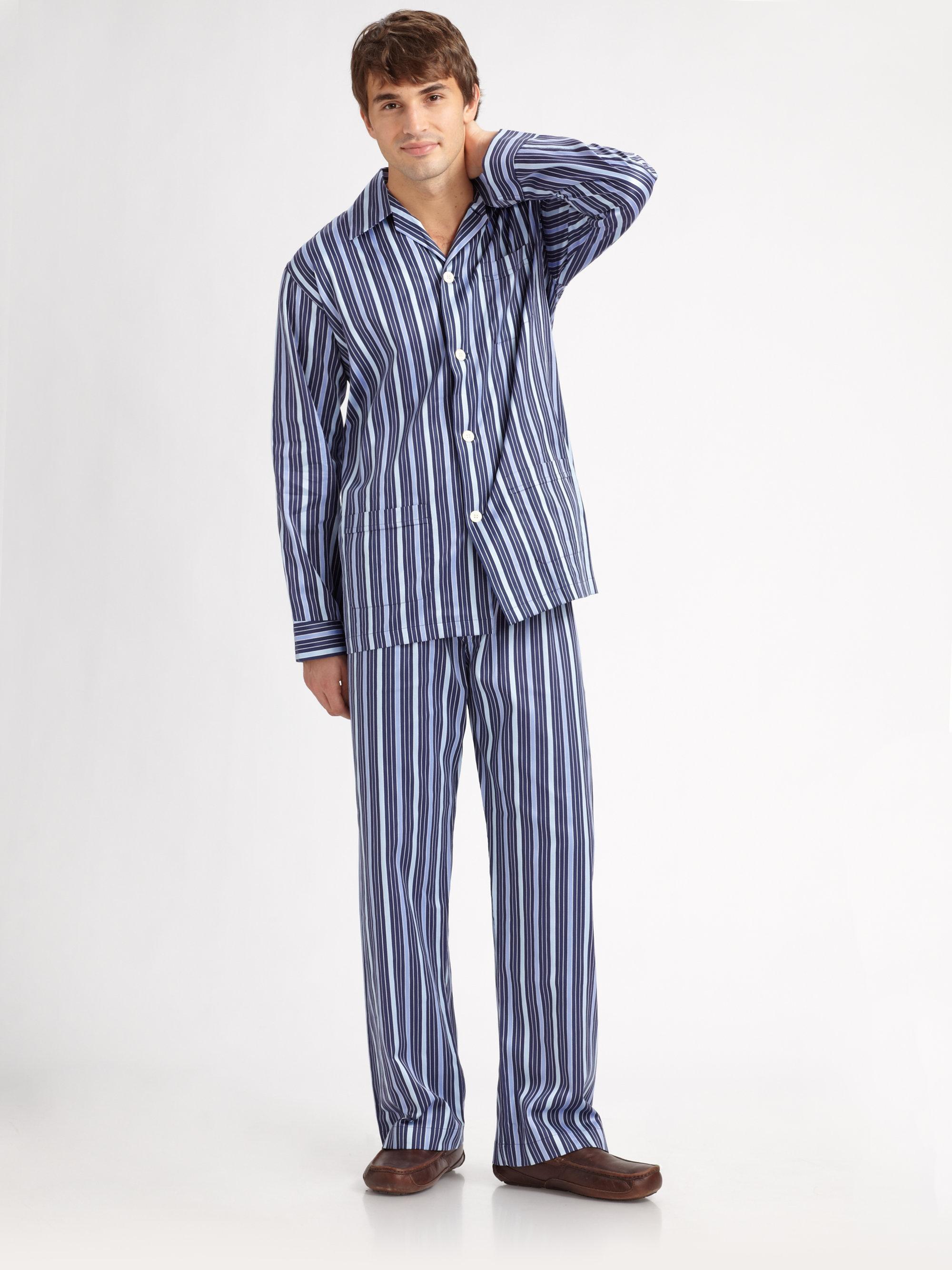 Derek Rose Royal Striped Pajamas Set In Blue For Men Lyst