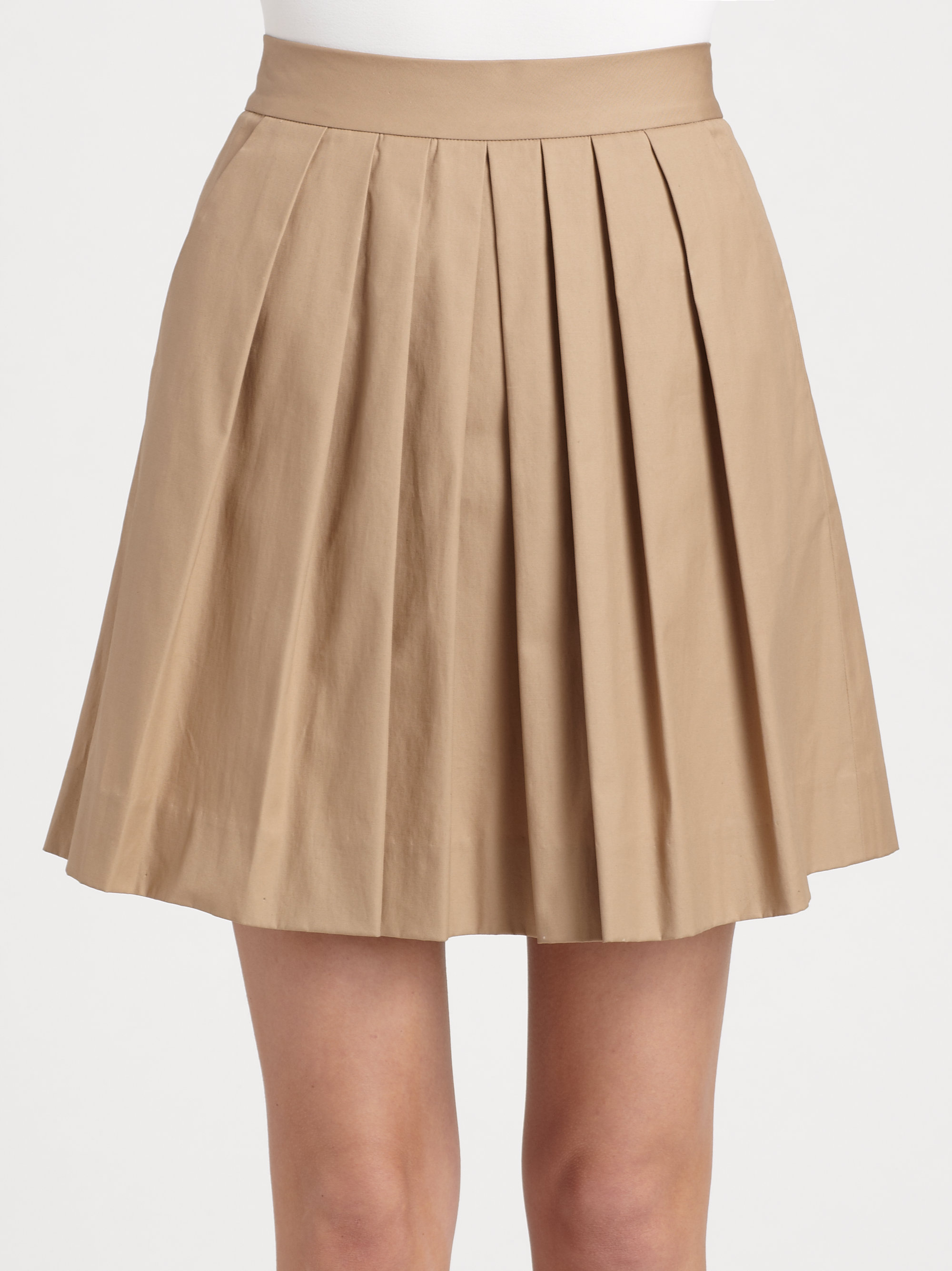 dkny pleated skirt in khaki lyst