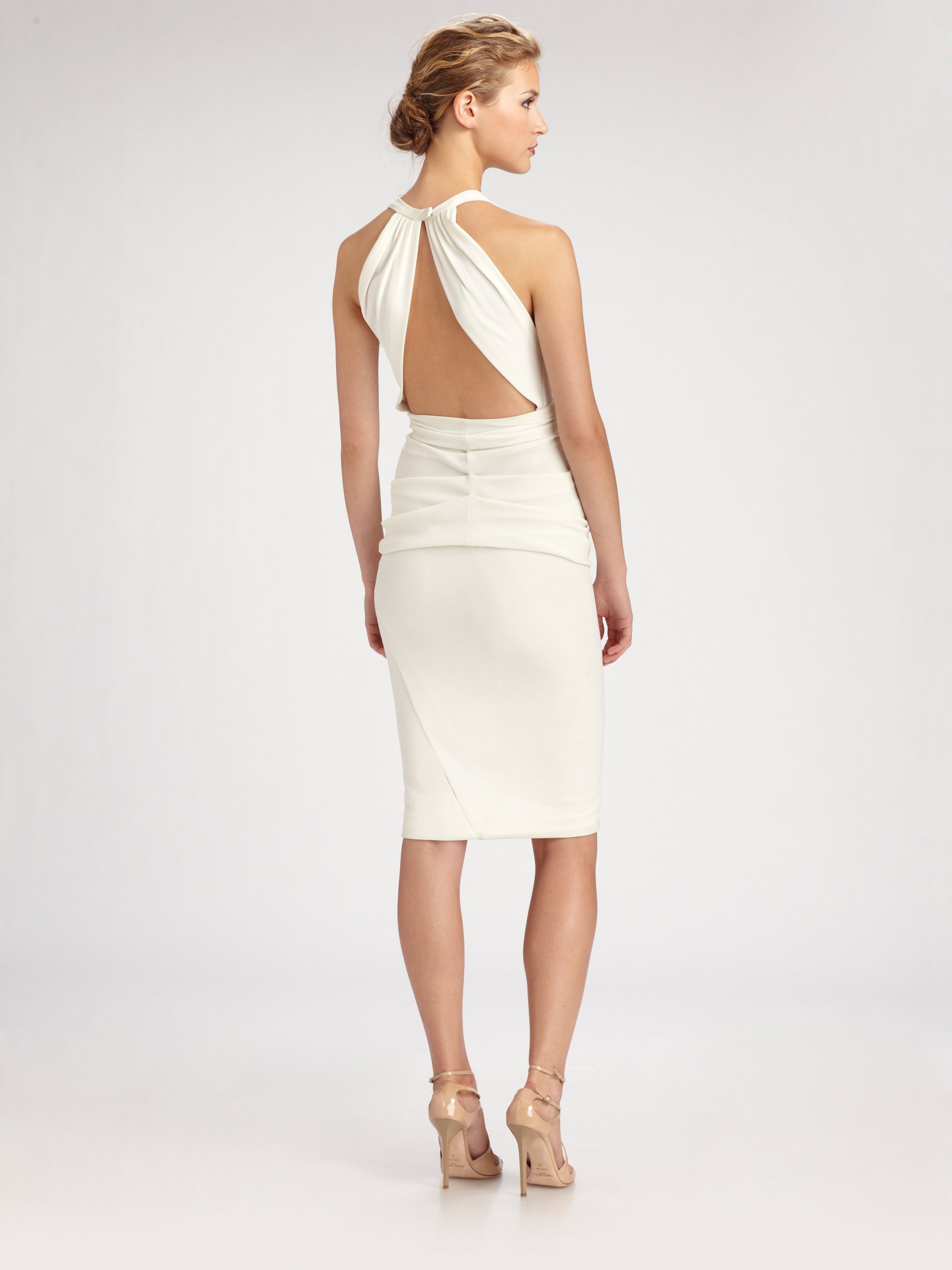 Donna karan Crepe Jersey Halter Dress in White | Lyst