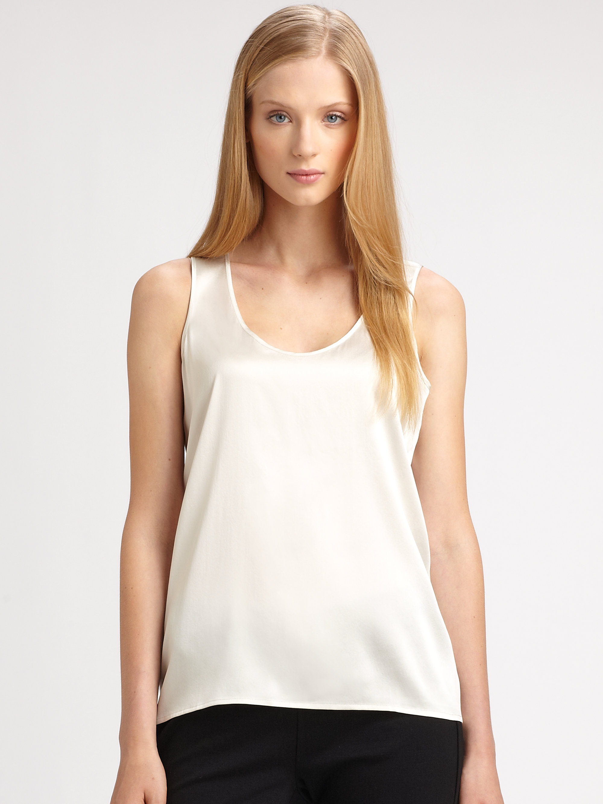 1366521709ae8f Lyst - Eileen Fisher Silk Charmeuse Tank Top in White