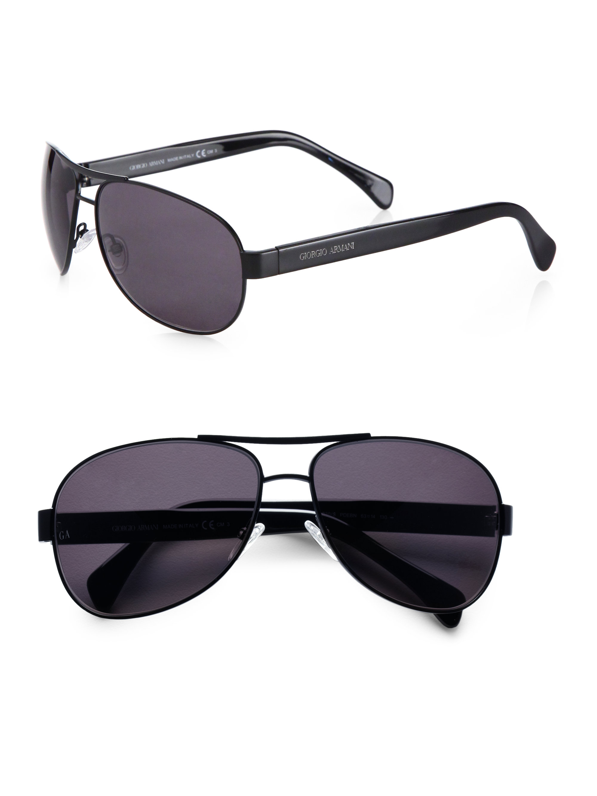 Giorgio Armani Semi Matte Aviator Sunglasses in Black for ...