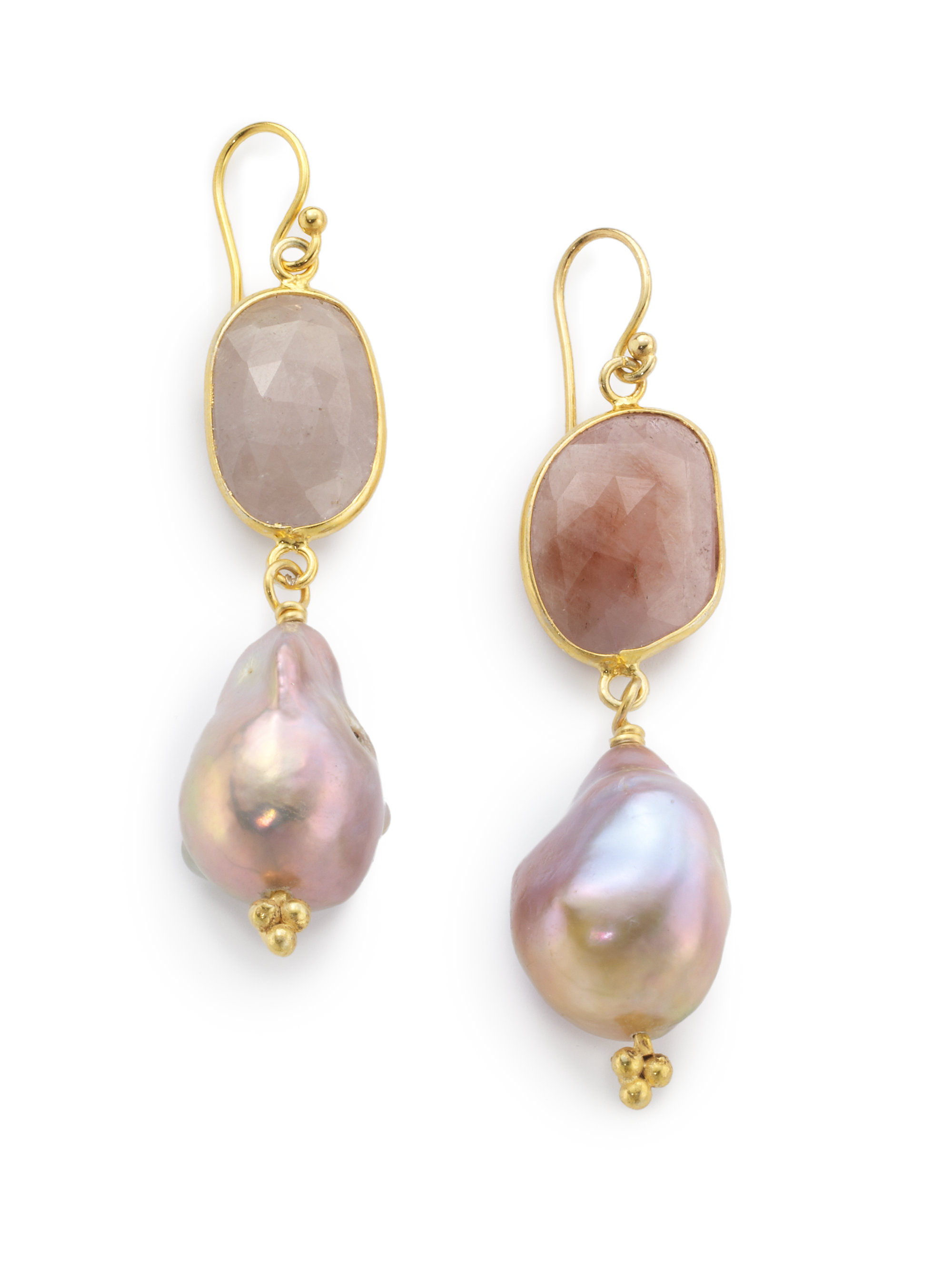 Indulgems Double Stone Drop Earrings, Pink