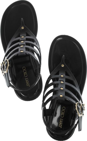 Jimmy Choo Margot Rubber Gladiator Sandals In Black Lyst