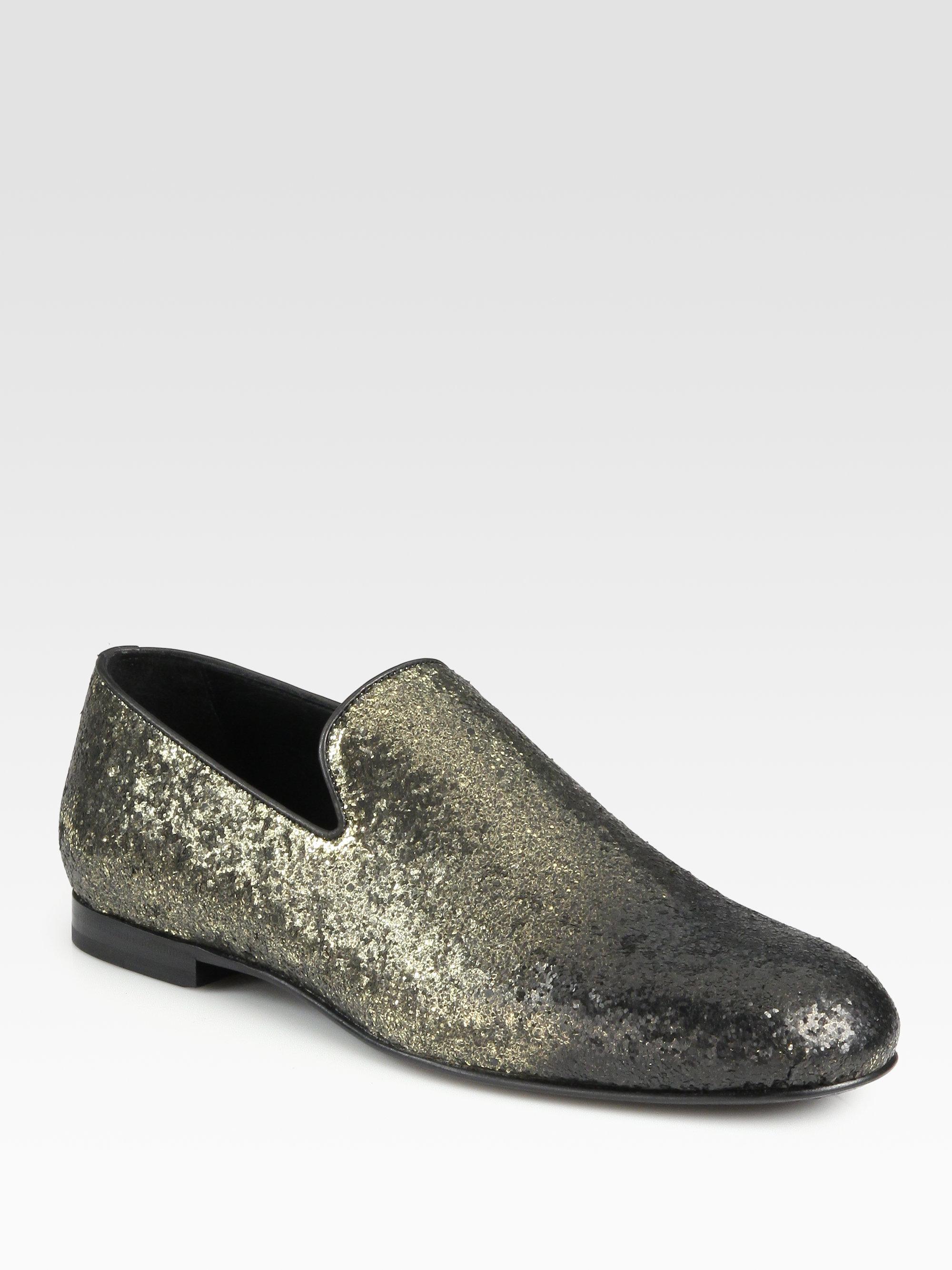 aff7a5f9bfc Lyst - Jimmy Choo Sloane Glitter Slipper Loafers in Metallic for Men